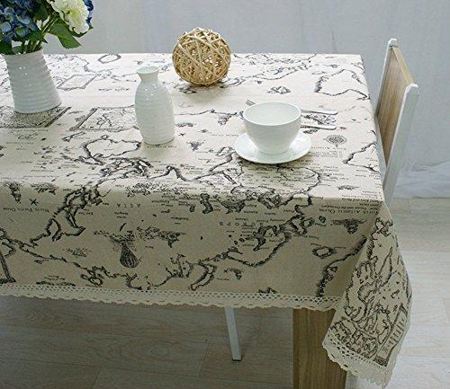 (KINGDESON Cotton Linen Rectangle Map Print Vintage Tablecloth Multi Sized)