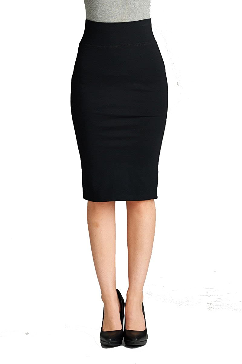 2180black YourStyle Stretch Bodycon Mini Pencil Ponte Skirt