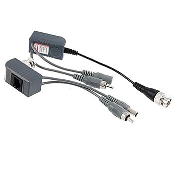 sourcingmap® Video Audio Alimentación Balun UTP cable de Transceptor coaxial BNC CCTV