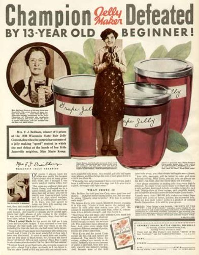 Champion Jelly-Maker MRS. F.J. BEILHARZ Defeated! 1931 CERTO Fruit Pectin AD Original Paper Ephemera Authentic Vintage Print Magazine ()