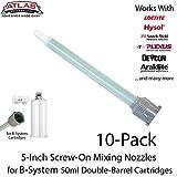Atlas Pro Quadro Screw-On Mixing Nozzles-Tips-10pk-for 50ml/1.7oz B-System Cartridges 4.5-inch 24-Element