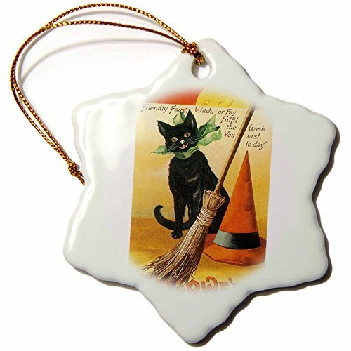 Ornaments to Paint BLN Vintage Halloween - Vintage Halloween Black Cat Broom and Witchs Hat - ()