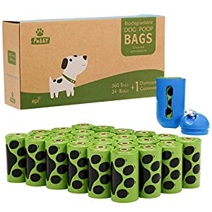 PobbY Biodegradable Dog Poop Bags Unscented 24 Refill Rolls Large Size 9″ X 13″ Durable Thick Dog Poop Bag (360-count) Includes Dispenser