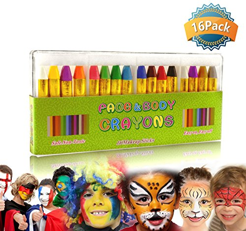 GiBot Face Paint Crayons 16 Colors Face and Body Paint Sticks Body Tattoo Crayons Kit for Kids, Child ,Toddlers, adult and World Cup Carnival,Non-toxic,Set of (Paint Faces For Halloween)