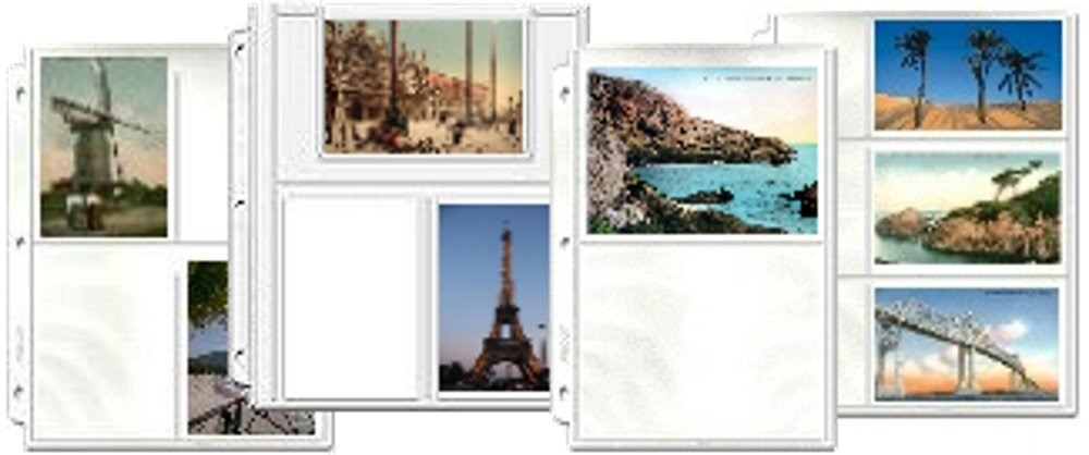 Postcard Collecting Binder Page Assortment, 30 pages in 4 different styles, fits any 3 ring binder, holds 170 post cards