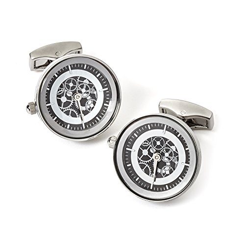 Tateossian Vintage Gear Watch Cufflink-RT, Rhodium Silver and Gunmetal from Tateossian
