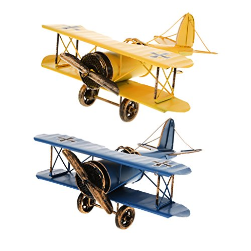 Baoblaze Yellow&Blue Metal Retro Biplane Model Military Plane for Kids Flying Fun Toy