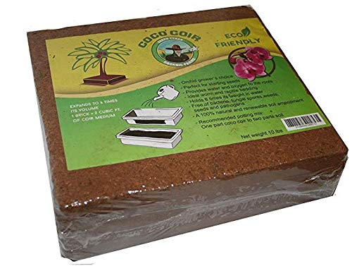 Green Texan Organic Farms Compressed Coconut Coir Brick, 11 Pound (lb) (11 - Brick Coir