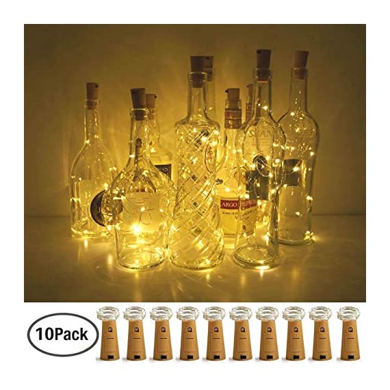 Wine Bottle Lights with Cork, LoveNite 15 Pack Battery Operated 10 LED Cork Shape Silver Wire Colorful Fairy Mini String… - 【Recycle Bottles With Romance】: Most Popular Warm White, 10 Super Bright Led Bulbs on a 40 Inches Long and Thin Sliver Wire. The low heat emission and eco-friendly design Cute Beautiful Bottle Cork String Lights Could Create Romantic, Peaceful and Warm Atmosphere After Decoration. 【Enjoy DIY FUN& for Many Occasion】: Made of High-quality Ultra Thin Silver Wire, can be Easily Designed to any DIY Shape You Like. Suitable Party, Wedding, Barbecue, Halloween, Christmas, Square, Garden, Indoor and Outdoor Decoration, etc. It is also a good gift for your Kids, Friends and Families. 【Battery Powered and More Saving】: Every Wine Bottle Cork Lights are Powered by 3 PCS LR44 Batteries (Batteries included) and no Need to Power Socket and Convenient to Use. The 10 led lights will Use Double Time than 20 led, while they have the Same Effect. A very Good Deal. - living-room-decor, living-room, home-decor - 51nHPhIqZKL. SS570  -