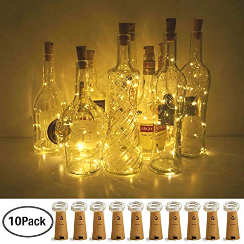 LoveNite Wine Bottle Lights with Cork, 10 Pack Battery Operated 8 LED Cork Shape Copper Wire Colorful Fairy Mini String Lights for DIY,Party,Decor,Christmas,Halloween,Wedding (Warm White)