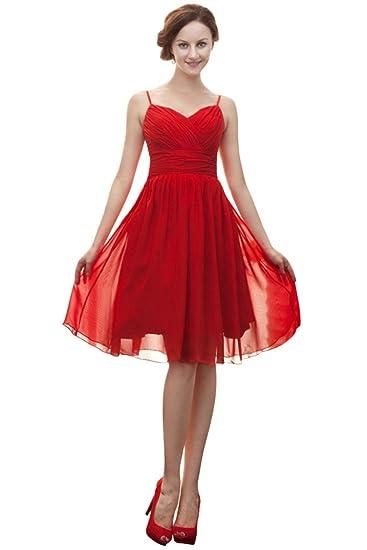 Vimans® Womens Sexy Short Red Chiffon Graduation Prom Dresses, ...