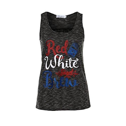 SKY Promotion !!! Mujeres red white and brew Camiseta del chaleco sin mangas de la impresión de la letra Letter Sleeveless Crop Tops Vest Tank Tops Blouse T-Shirt Gris