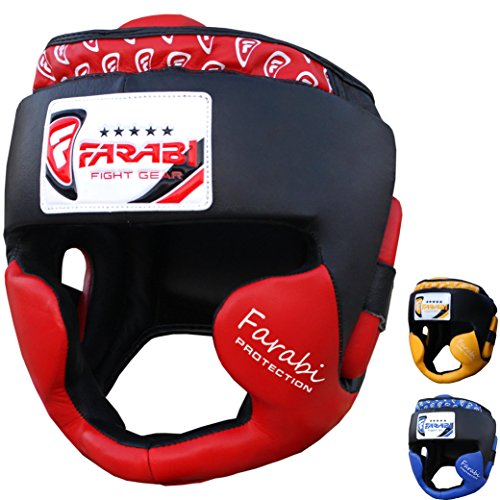 Boxing headguard, head protector mma muay thai kickboxing training punch protector genuine leather (Red, Small/Medium)