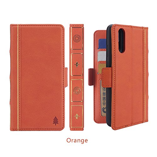 AICEDA Huawei P20 case, Protective skin Huawei P20 Protective skin Built-in Stand Function for Huawei P20 – Orange Leather ()