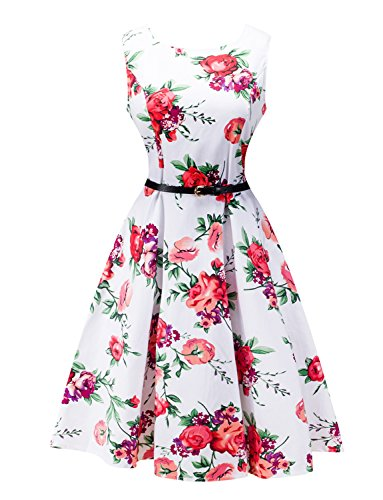 LINK-FLY 1950s Print Floral Vintage Cocktail Dress Retro Rockabilly Casual Party Swing Dress, TMP L