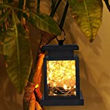 TOPCHANCES Solar Mason Jar Lights, Outdoor Lantern Hanging Lights Lamp Solar String Lights,IP44 Waterproof, Built-in 600 mAh Rechargeable Battery for Garden Patio Courtyard (Stars)