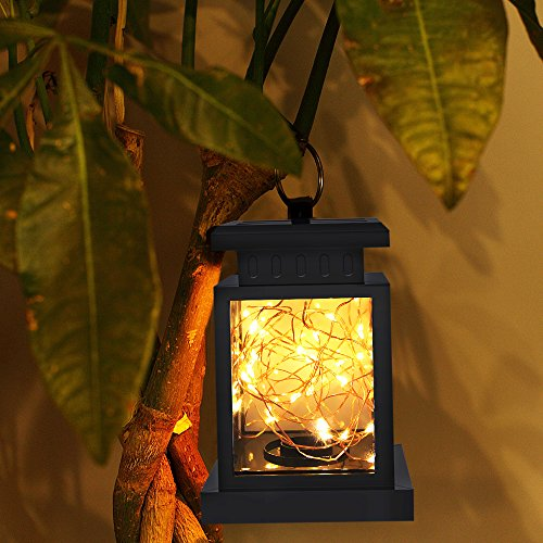 TOPCHANCES Solar Mason Jar Lights, Outdoor Lantern Hanging Lights Lamp Solar String Lights,IP44 Waterproof, Built-in 600 mAh Rechargeable Battery for Garden Patio Courtyard (Stars) by TOPCHANCES