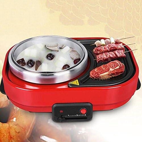 Myhope Gril électrique portatif sans fumée de barbecue et de casserole chaude multi-fonction BBQ non-Stick Pan réglable température facile propre 1500W noir