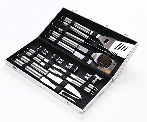 BBQ Grill Tool set with 18-piece Barbecue Stainless Steel Utensils with Aluminum Storage Case