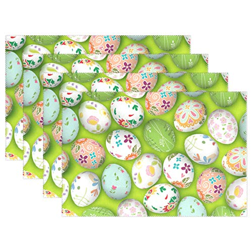ASVIP Happy Easter Placemats Set of 4 Colorful Eggs Kitchen Dining Table Mats Heat Insulation Stain Resistant Washable Polyester Placemat