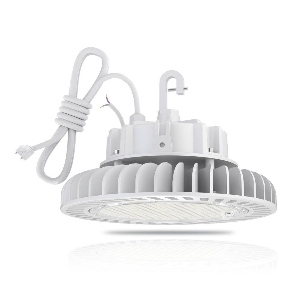 HYPERLITE LED High Bay Light 150W 5000K 20,250LM (135lm/w) CRI>80 1-10V Dimmable 5' Cable with 110V Plug Hanging Hook Safe Rope UL/DLC Approved for Factory Warehouse Gym