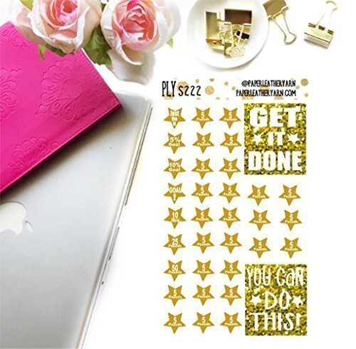 Rectangular Weight (S084 - Weight Loss Goal Stars - Gold (35 Stickers) | Erin Condren | Inkwell Press | Happy Planner)