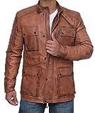 fjackets Mens Alaska Brown Cognac Modern Bike Racer Four Pocket Leather Jacket - 2XL