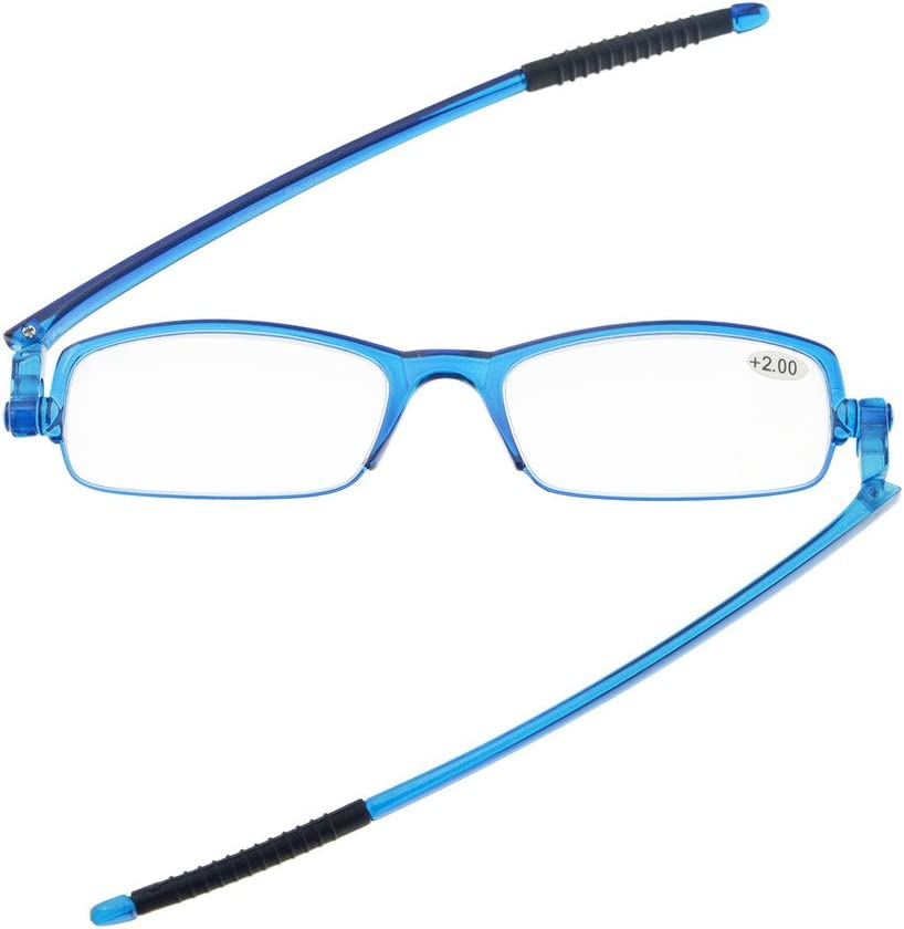Cornice Blu,+2.00 Eyekepper 360/° occhiali da vista templi pieghevole con donne uomini cassa trasparente
