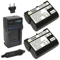 Wasabi Power Battery (2-Pack) and Charger for Nikon EN-EL15 and Nikon 1 V1, D600, D610, D800, D800E, D810, D7000, D7100