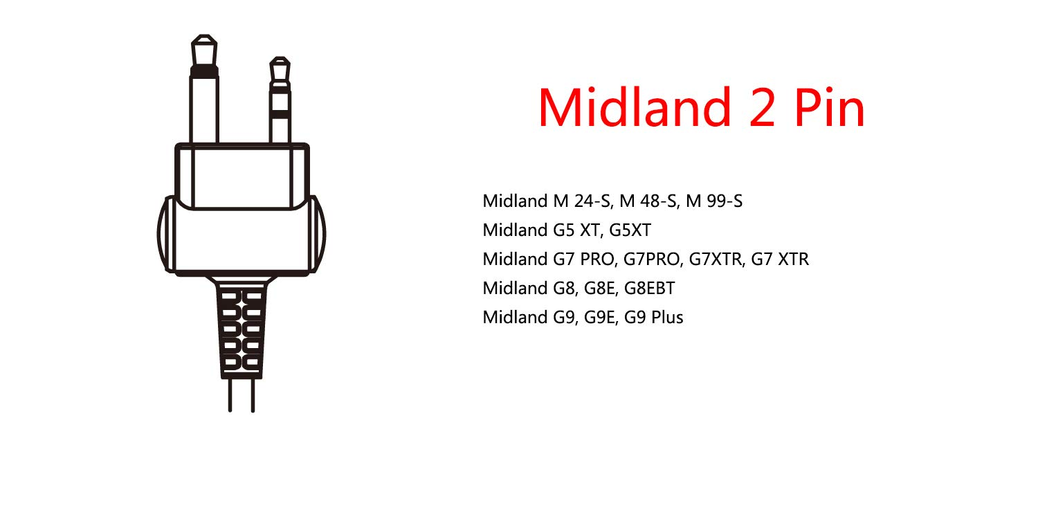 Lot 2 x Coodio G-Shape Earpiece Police Security Headset inline PTT Mic Microphone For 2 Pin Midland 2 Way Radio Walkie Talkie CDO-ML2-101-G