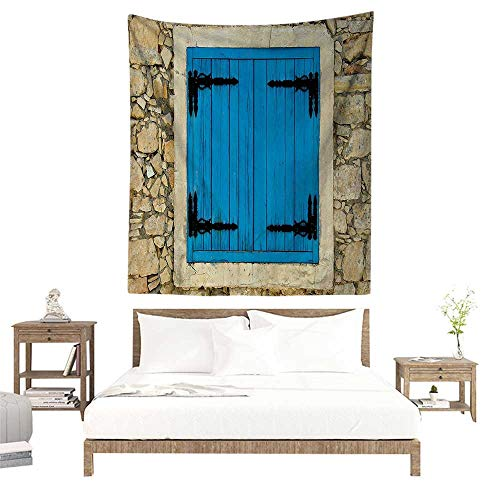 alisoso Wall Tapestries Hippie,Shutters Decor Collection,Vintage Style Decor Image of Stone House and Antique Shutters in European Village,Turquoi W57 x L74 inch Tapestry Wallpaper Home - Collection Shutter