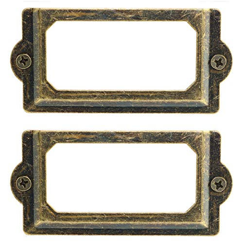 (Heyous 24PCS 70 x 33mm Metal Label Pull Frame Handle File Name Card Holder with Mounting Screws for Furniture Cabinet Drawer Box Case Bin Green Bronze Color)