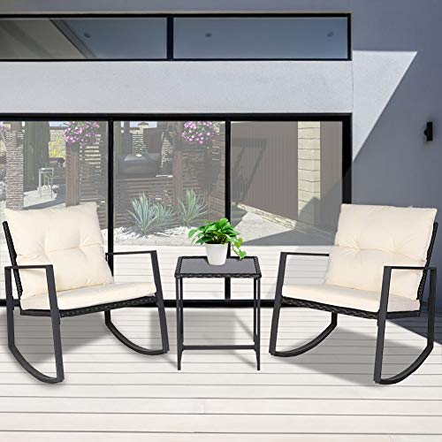 BonusAll 3 Pieces Outdoor Patio Set Rocking Chair Wicker Patio Furniture Sets Rocking Bistro Set Rattan Chair Conversation Sets with Coffee Table(Beige Cushion)
