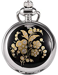 Carrie Hughes Girls Fashion Small Flower Steampunk Alloy Stainless Steel Pocket Watch CH136