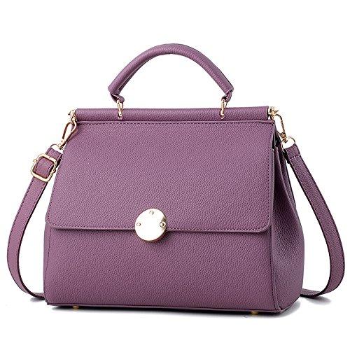 OME&QIUMEI Solo Hombro Bolsa Colgada La Mujer Bolsa Bolso Pu Pequeña Bolsa De Polvo (23*11*17Cm) Deep purple (26*12*20cm)