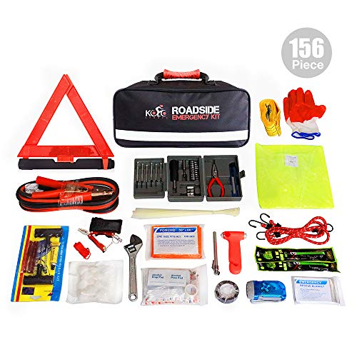 Kits Emergency Roadside - Kolo Sports 156-Piece Premium Auto Emergency Kit Multipurpose Emergency Pack - Great for Automotive Roadside Assistance & First Aid Set - The Ultimate All-in-One Solution