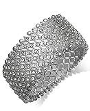 Charter Club Silver-Tone Clear Crystal Bezel Wide Cuff Stretch Bracelet