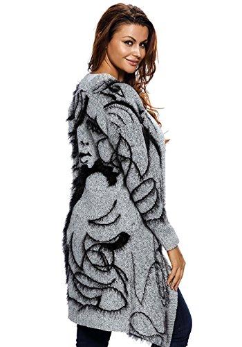 longues Aztec Grey Femmes LS Wicky avant Black Pull ouvert manches Cardigans qX6nfT