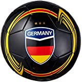 CLASICO Training & Recreation Soccer Ball Free Carrying Net Bag &Needle with Germany Map Pattern Official Size 5 for Ages 12+