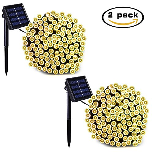Binval Solar String Lights 2-Pack 72feet-200LED Fairy String Lights for Outdoor Patio Lawn Landscape Fairy Garden Home Wedding Holiday Christmas Party and Xmas Tree Waterproof(Warm White)
