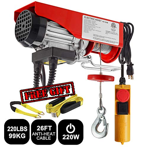 Partsam 220 lbs Lift Electric Hoist Crane Remote Control Power System, Zinc-Plated Steel Wire Overhead Crane Garage Ceiling Pulley Winch w/Premium Straps (UL/CUL Approval, w/Emergency Stop Switch)