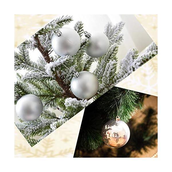 BLAZOR Palle di Natale,34pezzi Palline Addobbi Albero di Natalizie Ornamento Decorazione dell'albero Sfere di Natale Opaco Glitter Partito atrimonio Ornamento Natalizie Plastica Palle (Argento,4CM) 4 spesavip