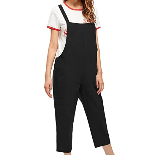 d2c609f4fb3b vermers Clearance Sale Women Strap Jumpsuits Summer Casual Dungarees Loose  Pockets Rompers Pants(S