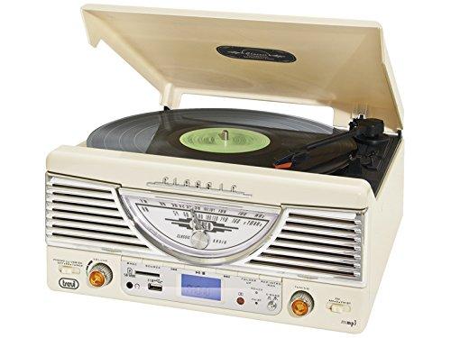 Trevi TT 1062E – Tocadiscos de diseño retro años 50 con entrada USB, ranura para tarjetas SD y mando a distancia – Color blanco