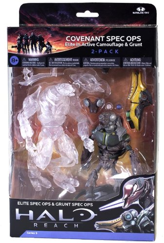 Halo Reach Action Figure 2 Pack Covenant Spec Ops Elite & Grunt (Fuel Gun Rod)