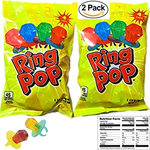 Ring Pops with Strawberry, Watermelon, Blue Raspberry and Cherry (2 Packs) -