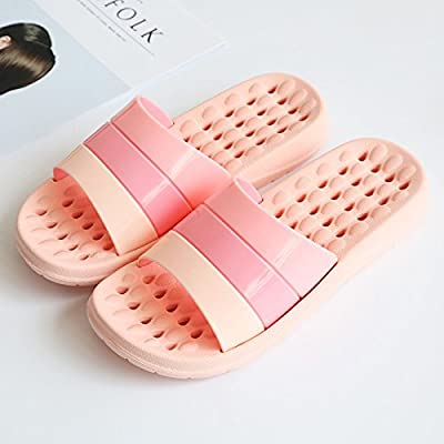 fankou The bathroom slippers summer girls home Couples Room stay with thick plastic anti-slip bath water shower slippers men and ,39/40, Pink