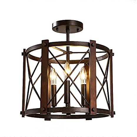 Jinyuze Semi Flush Ceiling Light Retro Industrial 3 Light