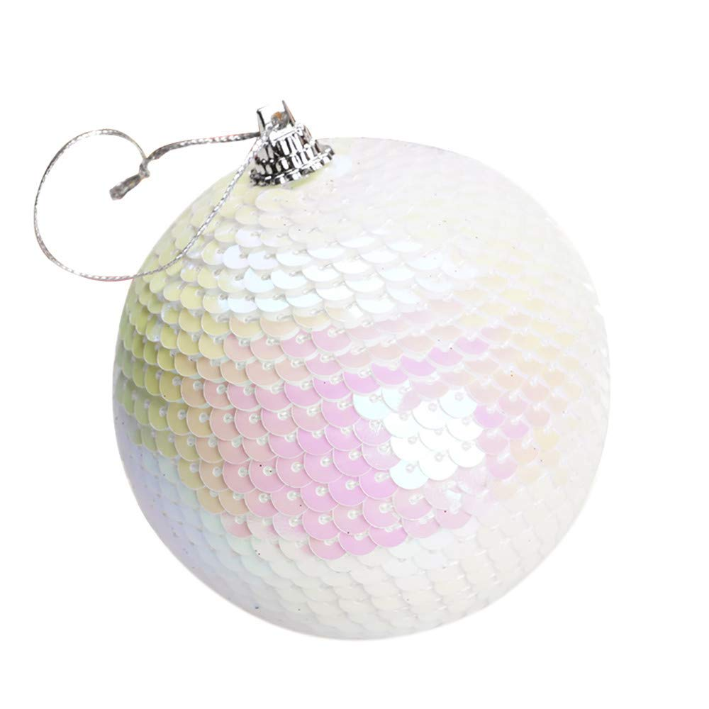 MomeChristmas Ornament 1 PC 8cm Sequin Glitter Baubles Balls Xmas Tree Hanging Pendants   Perfect for Your Home Bedroom Garden Wall etcr (White)