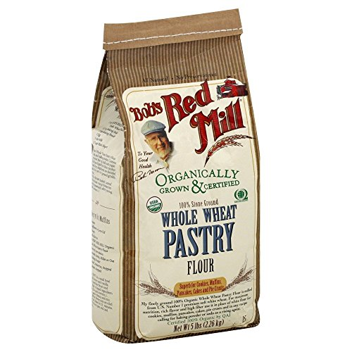 Organic Pastry Flour, Whole Wheat, Bob's Red Mill, 5 lbs (4 Pack)
